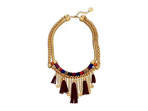 Vince Camuto - Warpped Drama Tassel Necklace (Worn Gold/Rhubarb/Blue/Red/Wood) Necklace