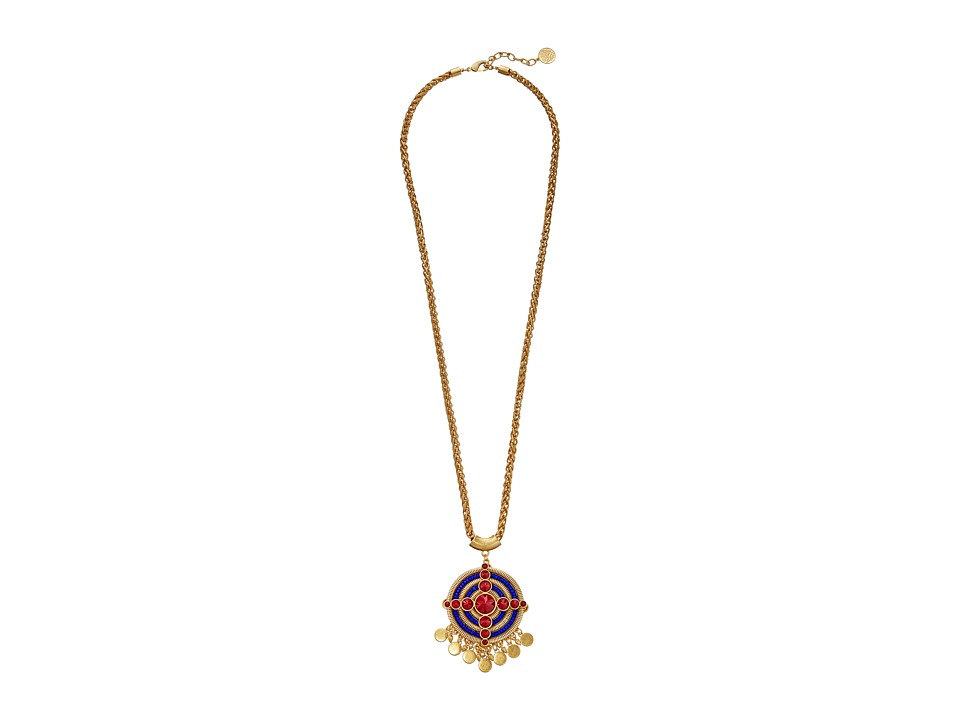 Vince Camuto - Short Drama Pendant Necklace (Worn Gold/Rhubarb/Blue/Red/Wood) Necklace