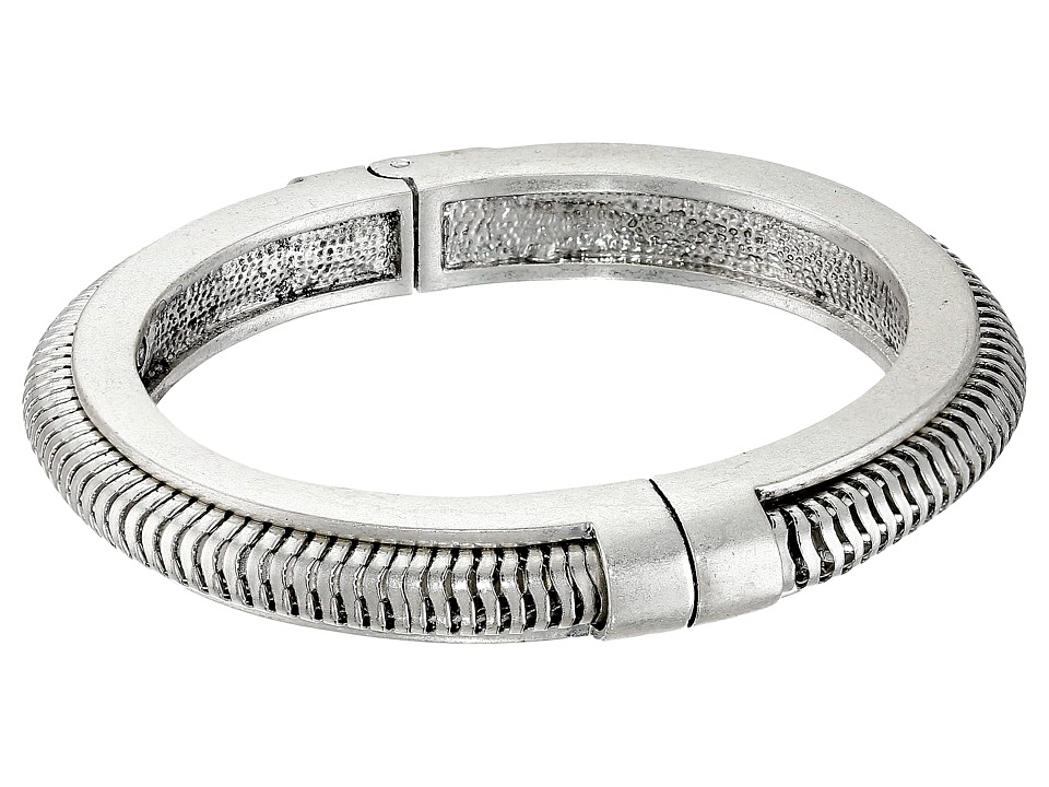 Vince Camuto - Suede Inlay Hinged Bangle (Oxidized Silver) Bracelet