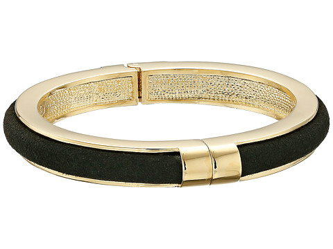 Vince Camuto - Suede Inlay Hinged Bangle (Gold/Black) Bracelet