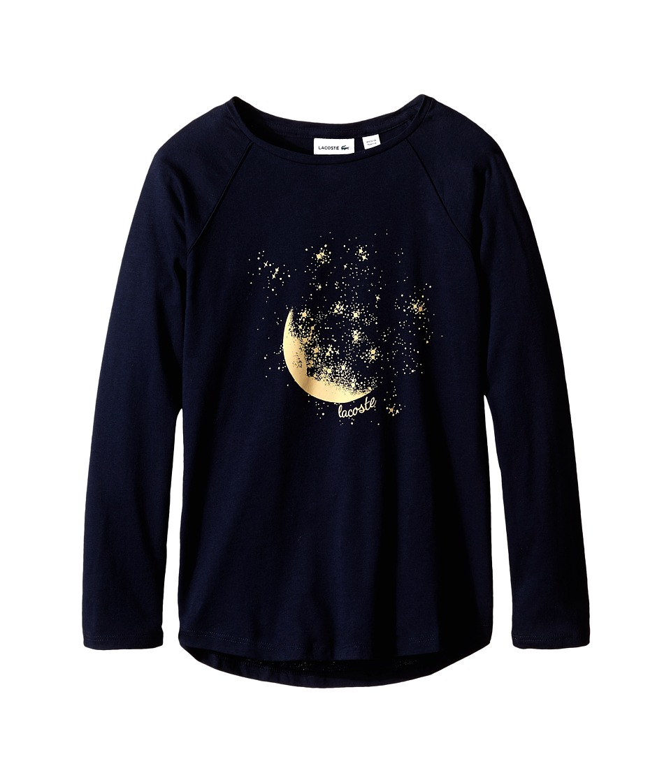 Lacoste Kids - Long Sleeve Mood and Stars Graphic Tee Shirt (Infant/Toddler/Little Kids/Big Kids) (Navy Blue/Darjeeling Yellow) Girl