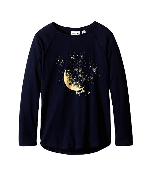 Lacoste Kids - Long Sleeve Mood and Stars Graphic Tee Shirt (Infant/Toddler/Little Kids/Big Kids) (Navy Blue/Darjeeling Yellow) Girl's T Shirt
