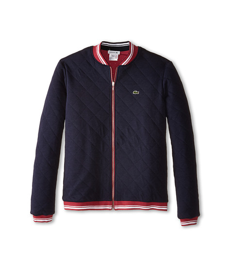 Lacoste Kids - Reversible Full Zip Quilted Sweatshirt (Toddler/Little Kids/Big Kids) (Tartine Pink/Navy Blue) Girl's Sweatshirt