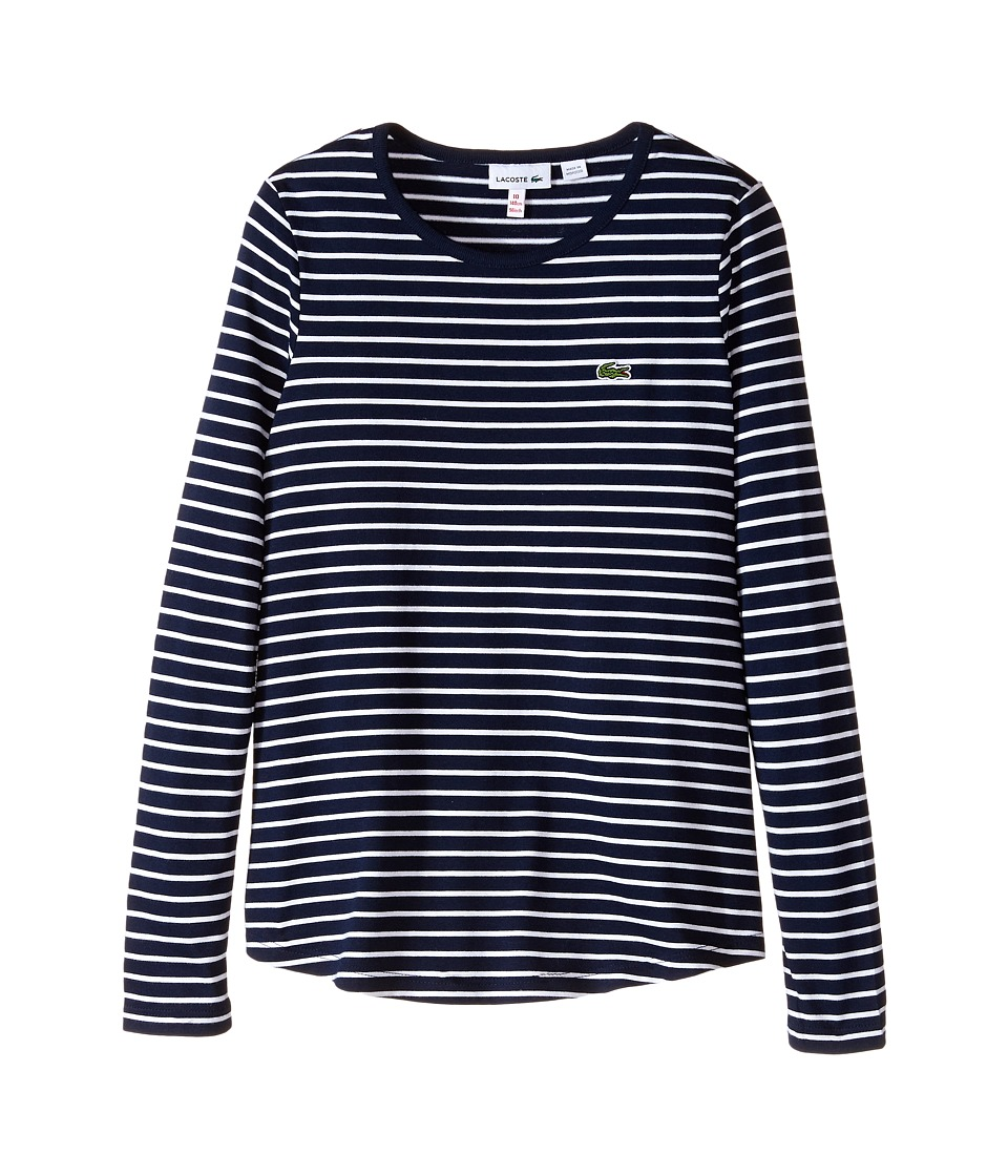 Lacoste Kids - Long Sleeve Loose Fit Striped Tee Shirt (Infant/Toddler/Little Kids/Big Kids) (Navy Blue/White) Girl's T Shirt