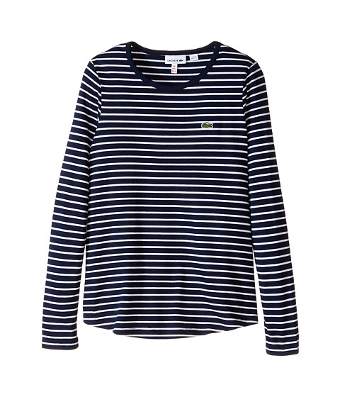 Lacoste Kids - Long Sleeve Loose Fit Striped Tee Shirt (Infant/Toddler/Little Kids/Big Kids) (Navy Blue/White) Girl