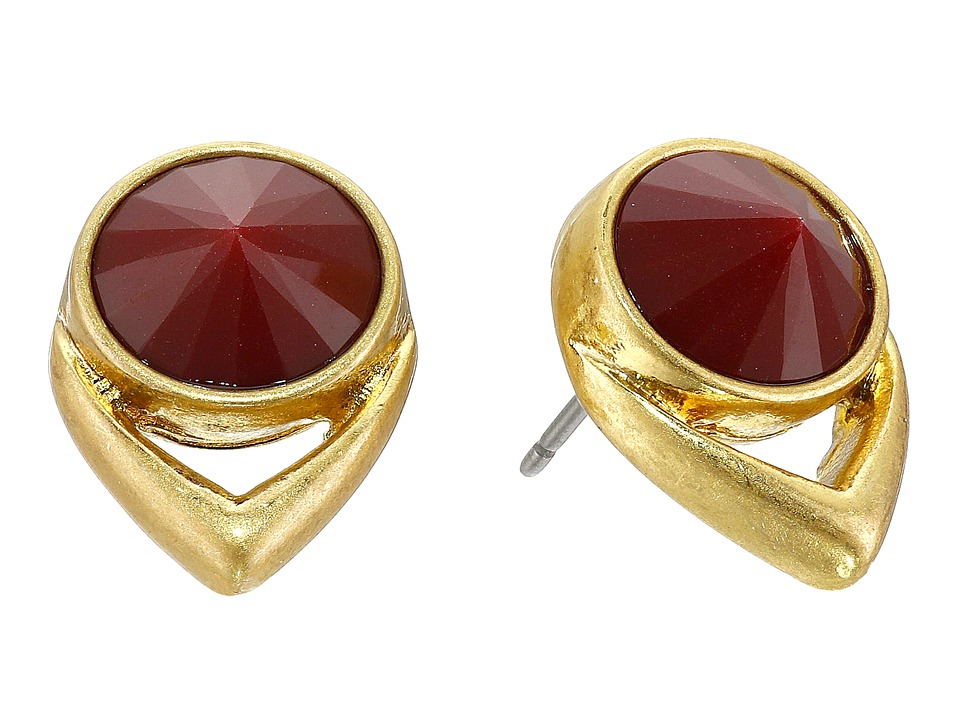 Vince Camuto - Stone Stud Earrings (Worn Gold/Rhubarb) Earring