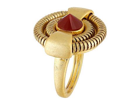 Vince Camuto - Small Wheel Ring (Worn Gold/Burgundy) Ring
