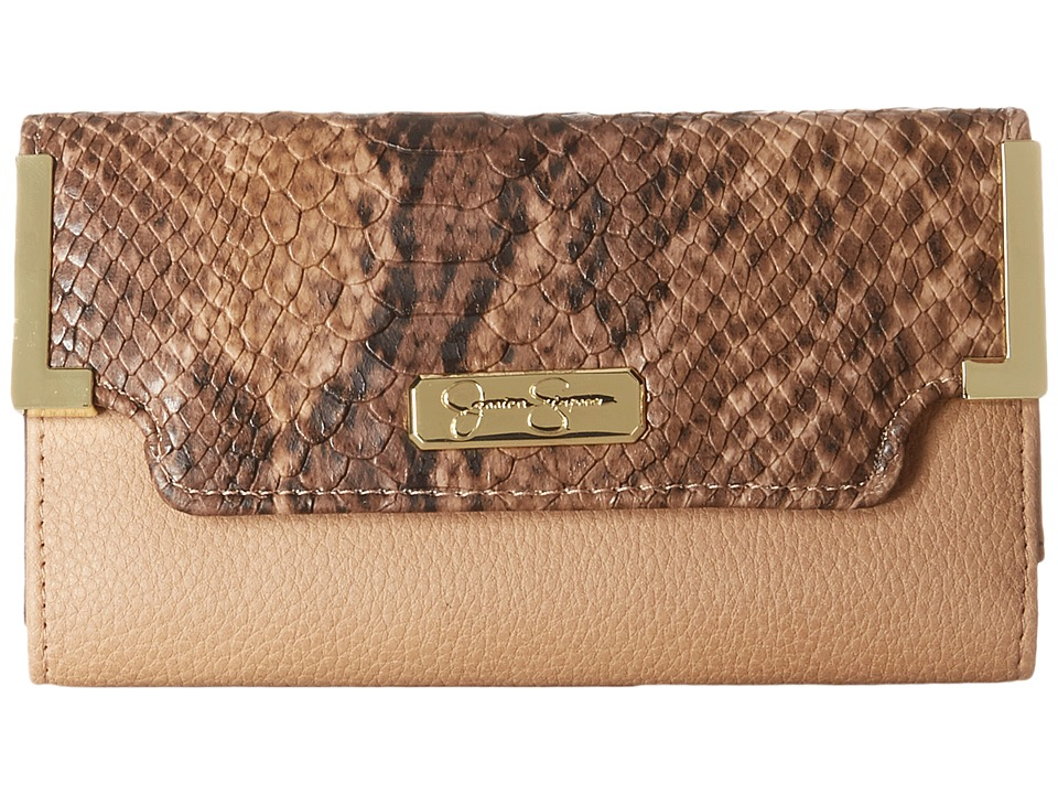 Jessica Simpson - Frances Medium Flap (Sand/Whisky/Python) Handbags