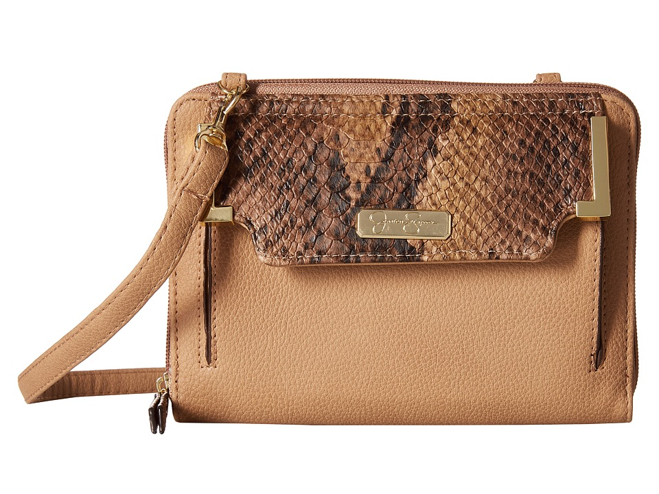 Jessica Simpson - Frances Organize Crossbody (Sand/Whisky/Python) Cross Body Handbags