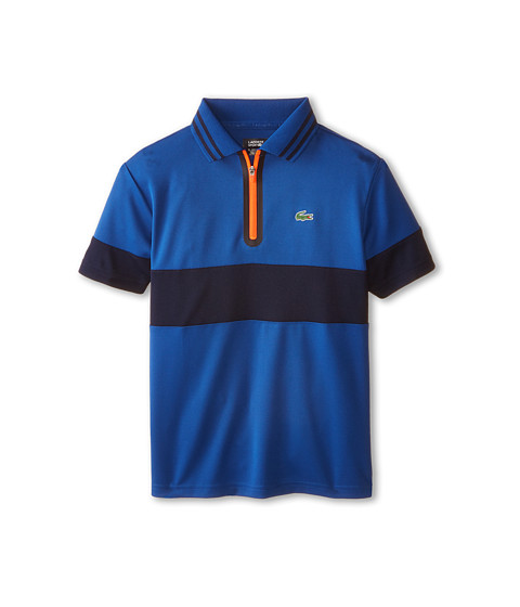Lacoste Kids - Sport Short Sleeve Zip Placket Ultra Dry Polo (Toddler/Little Kids/Big Kids) (Monaco Blue/Navy Blue/Fluo Energy) Boy's Short Sleeve Pullover