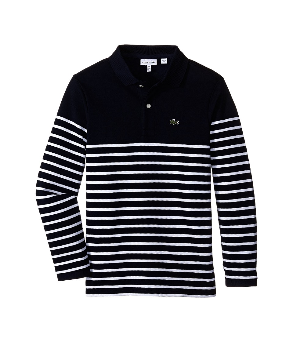 Lacoste Kids - Long Sleeve Striped Heavy Pique Polo (Toddler/Little Kids/Big Kids) (Navy Blue/White) Boy's Long Sleeve Pullover