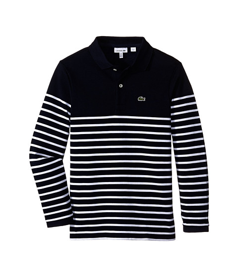 Lacoste Kids - Long Sleeve Striped Heavy Pique Polo (Toddler/Little Kids/Big Kids) (Navy Blue/White) Boy
