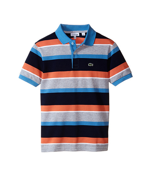 Lacoste Kids - Short Sleeve Multi-Stripe Polo (Infant/Toddler/Little Kids/Big Kids) (Navy Blue/Sailor/Silver Chine/White/Crab Orange) Boy's Short Sleeve Pullove
