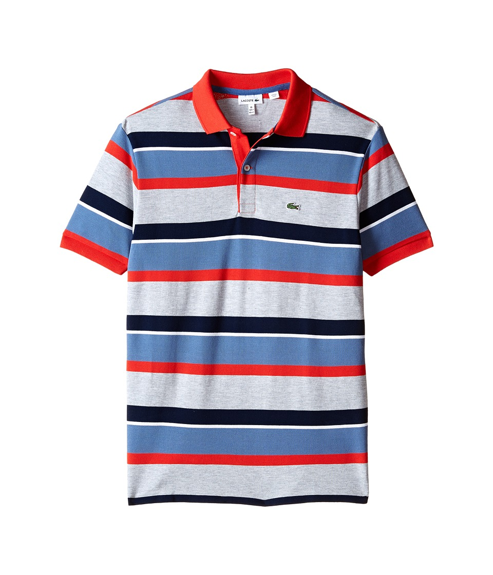 Lacoste Kids - Short Sleeve Multi-Stripe Polo (Infant/Toddler/Little Kids/Big Kids) (Silver Chine/Tango/Platoon Blue/White/Navy Blue) Boy's Short Sleeve Pullover