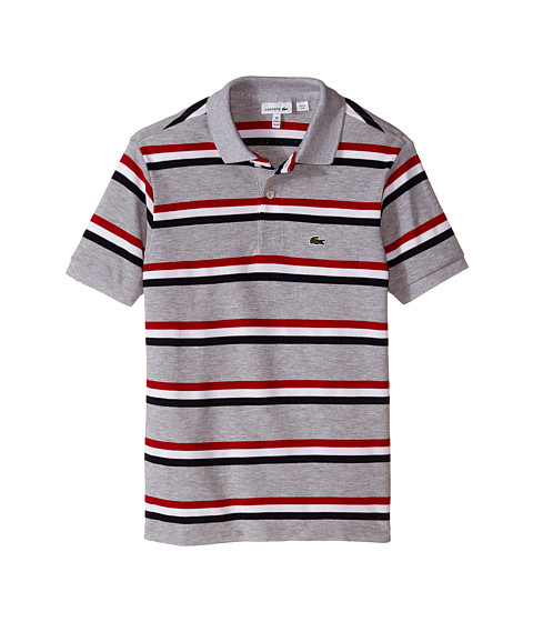 Lacoste Kids - Short Sleeve Thin Stripe Polo (Infant/Toddler/Little Kids/Big Kids) (Silver Chine/Navy Blue/White/Tokyo Red) Boy