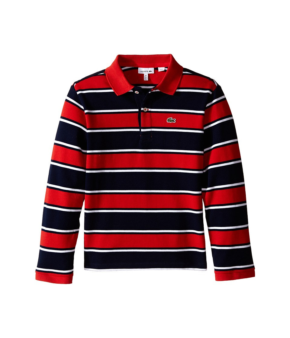 Lacoste Kids - Long Sleeve Bold Striped Polo (Toddler/Little Kids/Big Kids) (Navy Blue/White/Tango) Boy