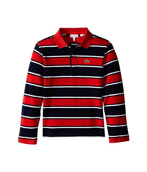 Lacoste Kids - Long Sleeve Bold Striped Polo (Toddler/Little Kids/Big Kids) (Navy Blue/White/Tango) Boy's Long Sleeve Pullover
