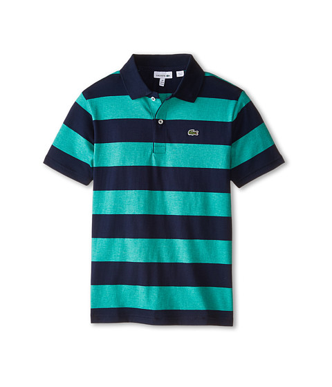 Lacoste Kids - Short Sleeve Bold Stripe Jersey Polo (Infant/Toddler/Little Kids/Big Kids) (Spruce Chine/Navy Blue) Boy