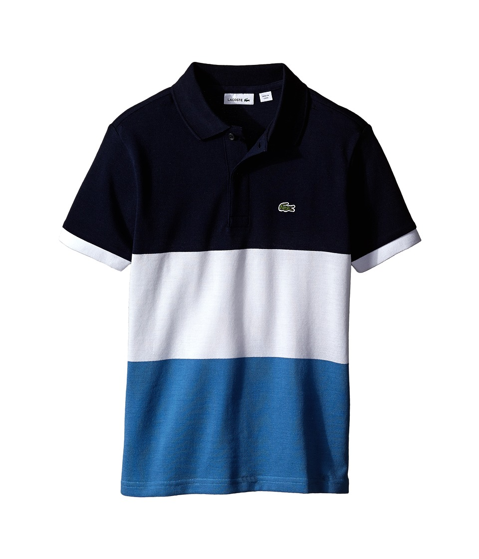 Lacoste Kids - Short Sleeve Bold Striped Polo (Toddler/Little Kids/Big Kids) (Sailor/White/Navy Blue) Boy's Short Sleeve Pullover