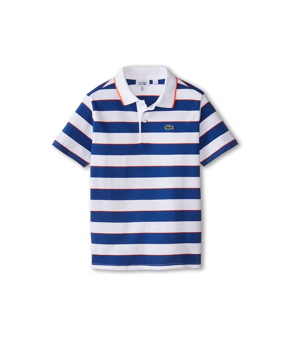 Lacoste Kids - Sport Short Sleeve Superlight Striped Polo (Little Kids/Big Kids) (White/Monaco Blue/Fluo Energy) Boy