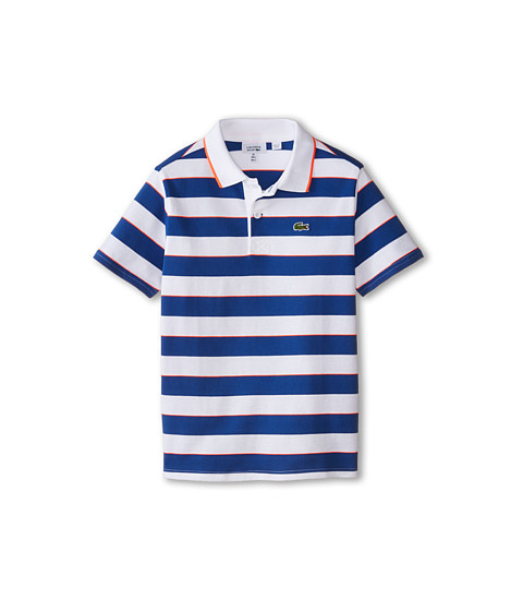Lacoste Kids - Sport Short Sleeve Superlight Striped Polo (Little Kids/Big Kids) (White/Monaco Blue/Fluo Energy) Boy's Short Sleeve Pullover