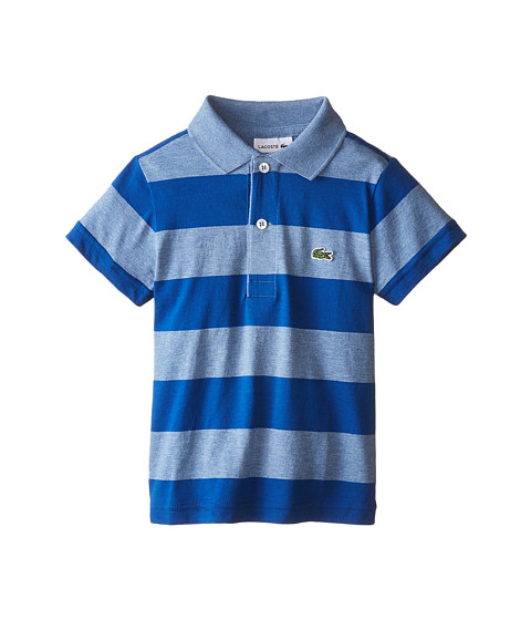 Lacoste Kids - Short Sleeve Bold Stripe Jersey Polo (Infant/Toddler/Little Kids/Big Kids) (Sailor Chine/Electric) Boy