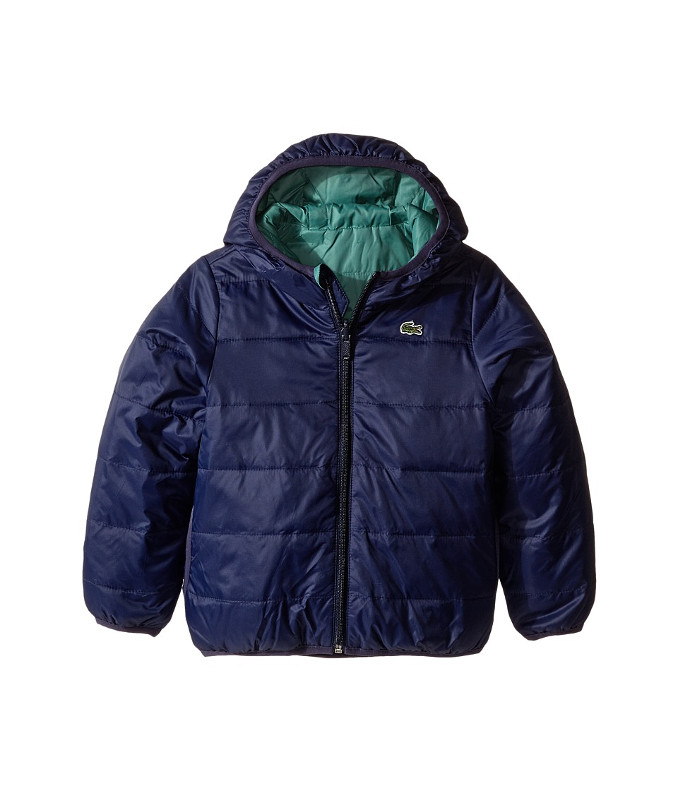 Lacoste Kids - Reversible Puffer Coat (Little Kids/Big Kids) (Navy Blue/Spruce) Boy