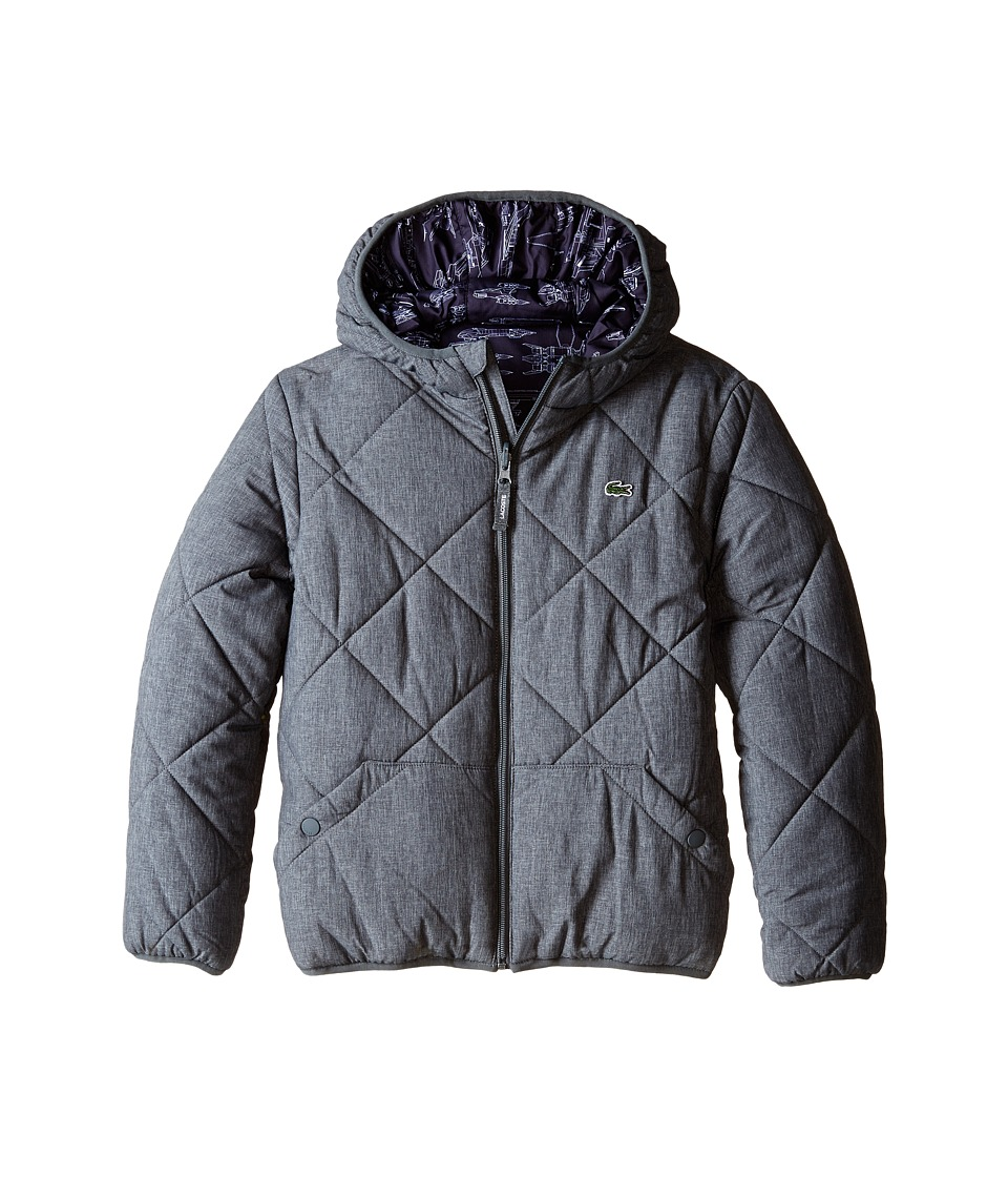 Lacoste Kids - Reversible Puffer Coat with All Over Space Shuttle Graphic (Little Kids/Big Kids) (Mousetrap Grey) Boy
