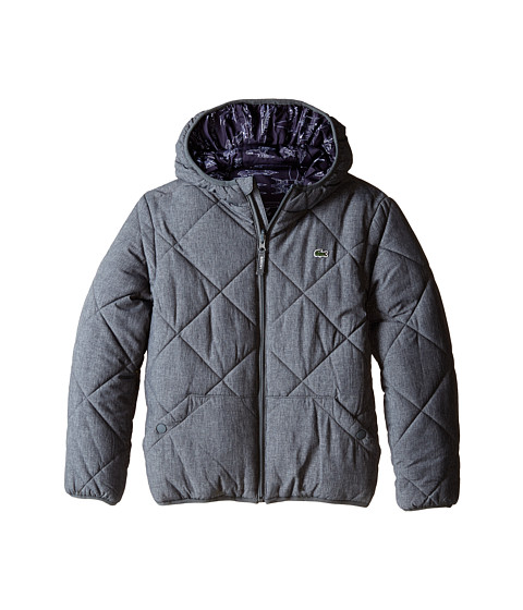 Lacoste Kids - Reversible Puffer Coat with All Over Space Shuttle Graphic (Little Kids/Big Kids) (Mousetrap Grey) Boy's Coat