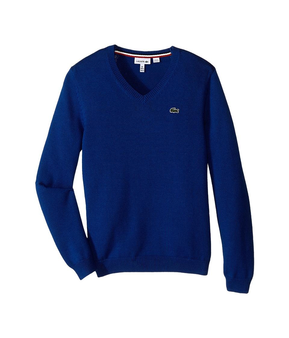 Lacoste Kids - Solid V-Neck Sweater (Toddler/Little Kids/Big Kids) (Heritage Blue) Boy