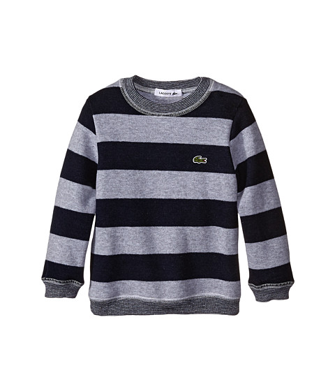 Lacoste Kids - Striped Crew Neck Sweater with Elbow Patch Detail (Infant/Toddler/Little Kids/Big Kids) (Silver Grey Chine/Navy Blue) Boy