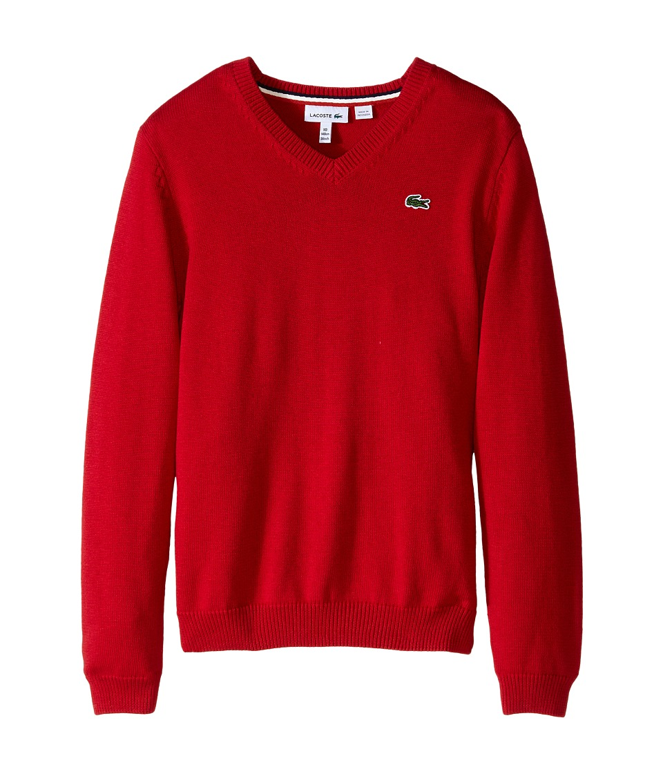 Lacoste Kids - Solid V-Neck Sweater (Toddler/Little Kids/Big Kids) (Tokyo Red) Boy's Sweater