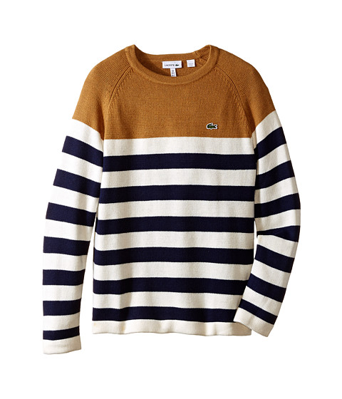 Lacoste Kids - Blocked Stripe Crew Neck Sweater (Toddler/Little Kids/Big Kids) (Caramel/White/Navy Blue) Boy
