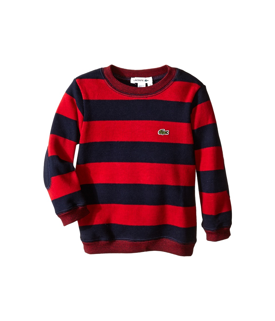 Lacoste Kids - Striped Crew Neck Sweater with Elbow Patch Detail (Infant/Toddler/Little Kids/Big Kids) (Navy Blue/Tokyo Red) Boy