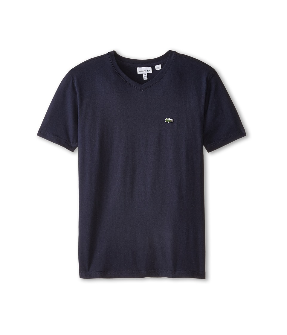Lacoste Kids - S/S Classic Jersey V-Neck Tee (Toddler/Little Kids/Big Kids) (Navy Blue) Boy
