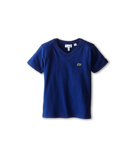 Lacoste Kids - S/S Classic Jersey V-Neck Tee (Toddler/Little Kids/Big Kids) (Varsity Blue) Boy