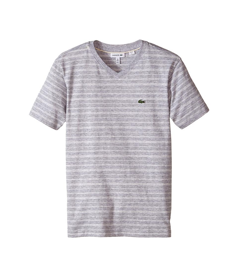 Lacoste Kids - Short Sleeve V-Neck Striped Tee Shirt (Toddler/Little Kids/Big Kids) (Silver Chine/Flour) Boy