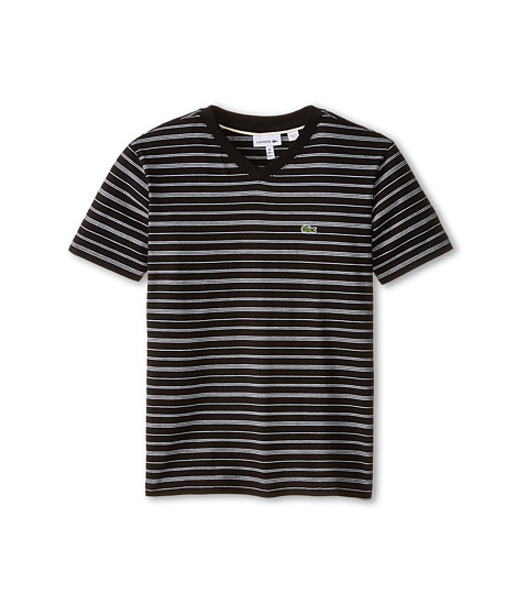 Lacoste Kids - Short Sleeve V-Neck Striped Tee Shirt (Toddler/Little Kids/Big Kids) (Black/White) Boy