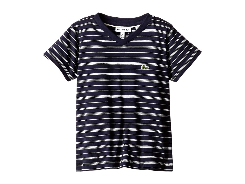 Lacoste Kids - Short Sleeve V-Neck Striped Tee Shirt (Toddler/Little Kids/Big Kids) (Navy Blue/Cake Flour/White) Boy
