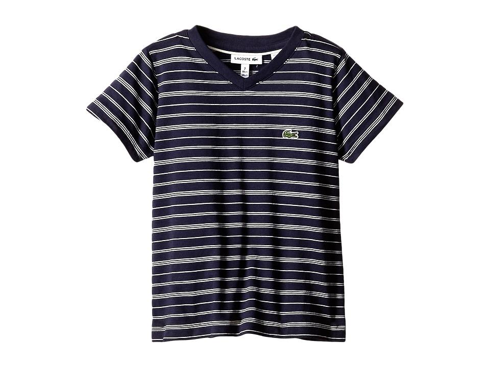 Lacoste Kids - Short Sleeve V-Neck Striped Tee Shirt (Toddler/Little Kids/Big Kids) (Navy Blue/Cake Flour/White) Boy