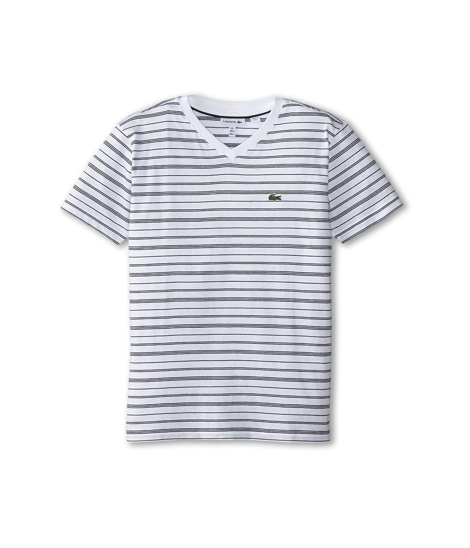 Lacoste Kids - Short Sleeve V-Neck Striped Tee Shirt (Toddler/Little Kids/Big Kids) (White/Navy Blue) Boy