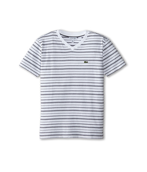 Lacoste Kids - Short Sleeve V-Neck Striped Tee Shirt (Toddler/Little Kids/Big Kids) (White/Navy Blue) Boy's T Shirt
