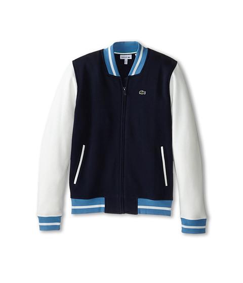 Lacoste Kids - Full Zip Varsity Sweatshirt (Infant/Toddler/Little Kids/Big Kids) (Navy Blue/Farine/Sailor) Boy