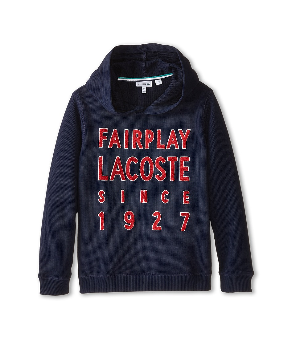 Lacoste Kids - Pique Fleece Hooded Sweatshirt with Fairplay Applique (Toddler/Little Kids/Big Kids) (Navy Blue/Tokyo Red) Boy