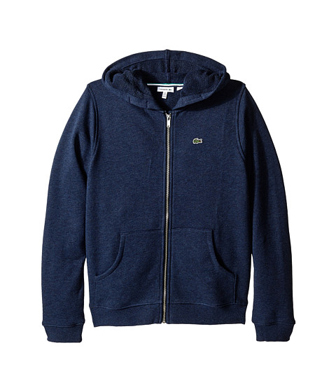 Lacoste Kids - Full Zip Chine Fleece Sweatshirt (Infant/Toddler/Little Kids/Big Kids) (Navy Blue Chine) Boy's Sweatshirt