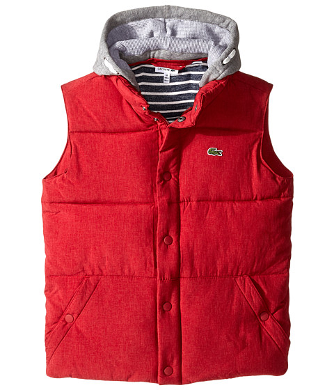 Lacoste Kids - Flannel Lined Padded Vest with Removable Hood (Little Kids/Big Kids) (Tokyo Red) Boy