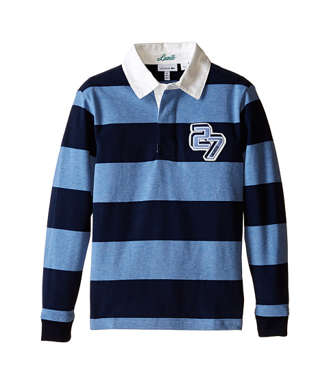 Lacoste Kids - Long Sleeve Bold Stripe Rugby (Little Kids/Big Kids) (Navy Blue/Sailor Chine) Boy's Clothing
