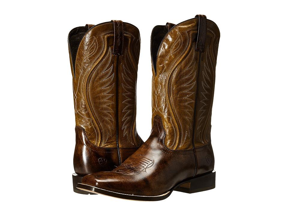 Ariat - Hookin Horns (Weathered Bucksin/Golden Tan) Cowboy Boots