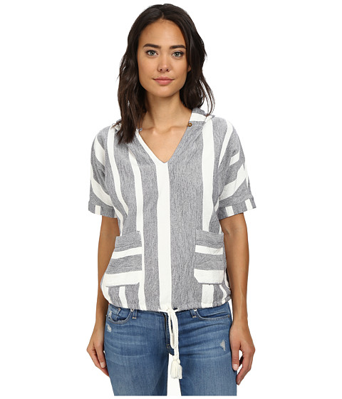 Roxy - Ironwood Short Sleeve Hoodie (Patriot Blue Shoreline Stripe) Women's Short Sleeve Pullover