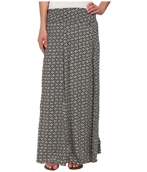 Roxy - Mixed Up Woven Maxi Skirt (True Black Diamond Zigs) Women